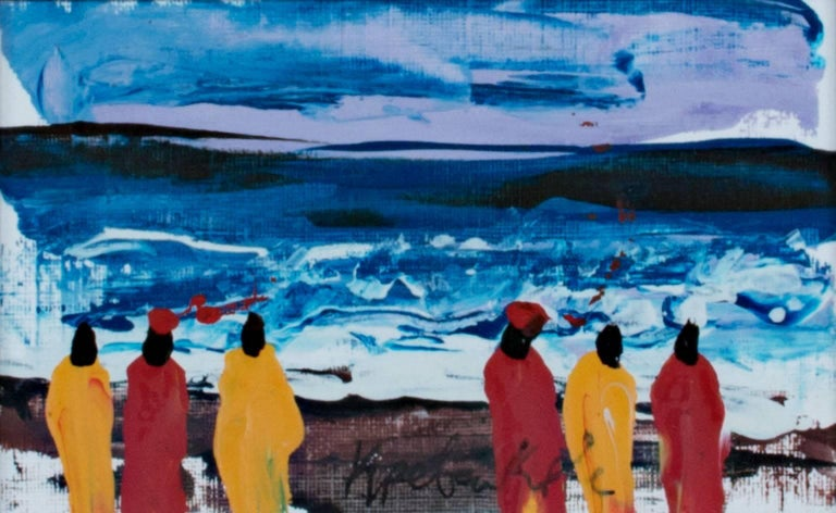 """Samuel B. Kpetenkple Landscape Painting - """"Watching the Whitecaps on the South Atlantic Shore, Ghana, Africa,"""" Acrylic"""