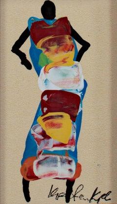 """Ashanti Woman Dancing, Ghana, Africa,"" Acrylic on Paper by Samuel B. Kpetenkple"