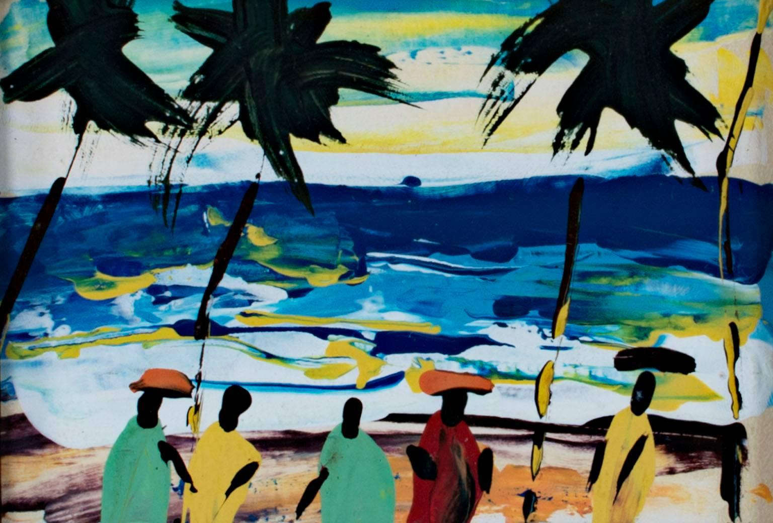 """""""Sunset Over the South Atlantic Shore, Ghana, Africa,"""" Acrylic on Paper"""