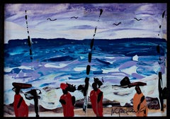 """""""Fishing on the South Atlantic Shore, Ghana, Africa,"""" Acrylic by S. Kpetenkple"""