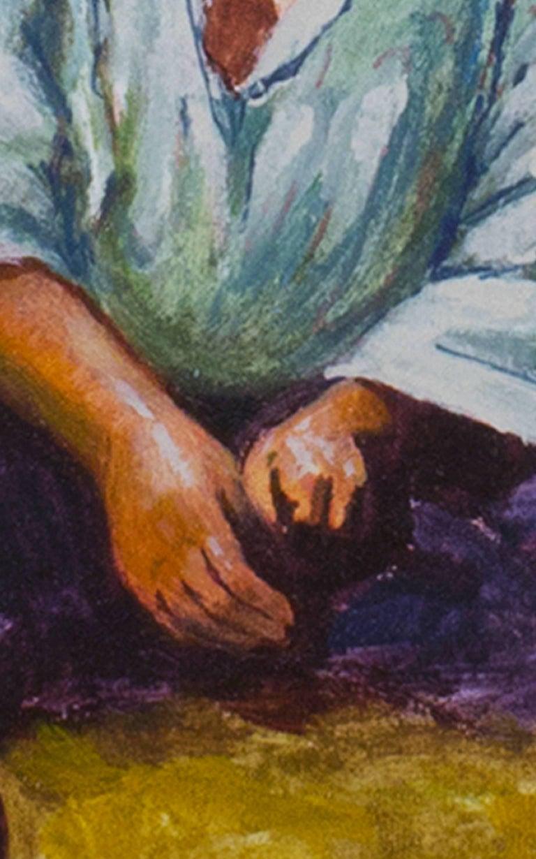 Nina Ponema Puno (Young Girl from Puno) - Brown Portrait Painting by Abelardo Marquez Velazquez