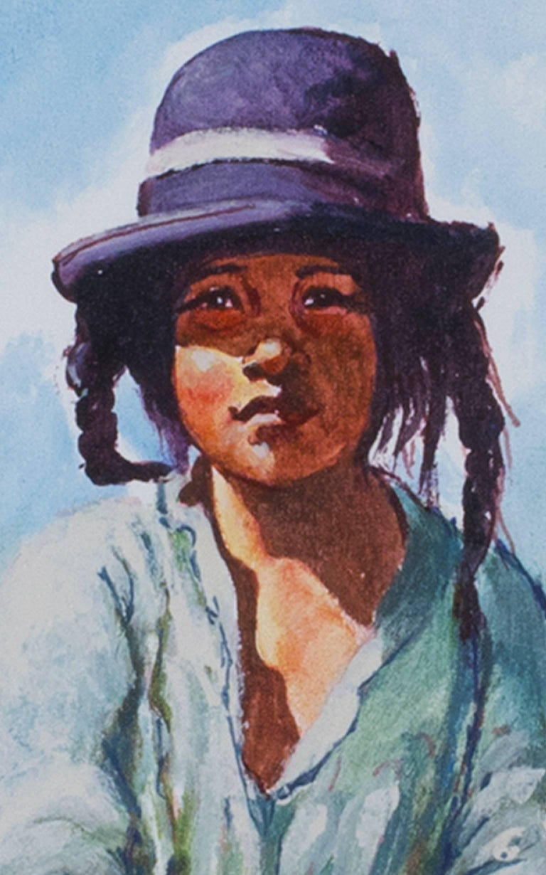 """""""Nina Ponema - Puno (Young Girl from Puno)"""" is an original oil painting on canvas by Abelardo Marquez. The artist signed the piece in the lower right. This painting depicts a young girl wearing a hat with a ceramic jar in front of her."""