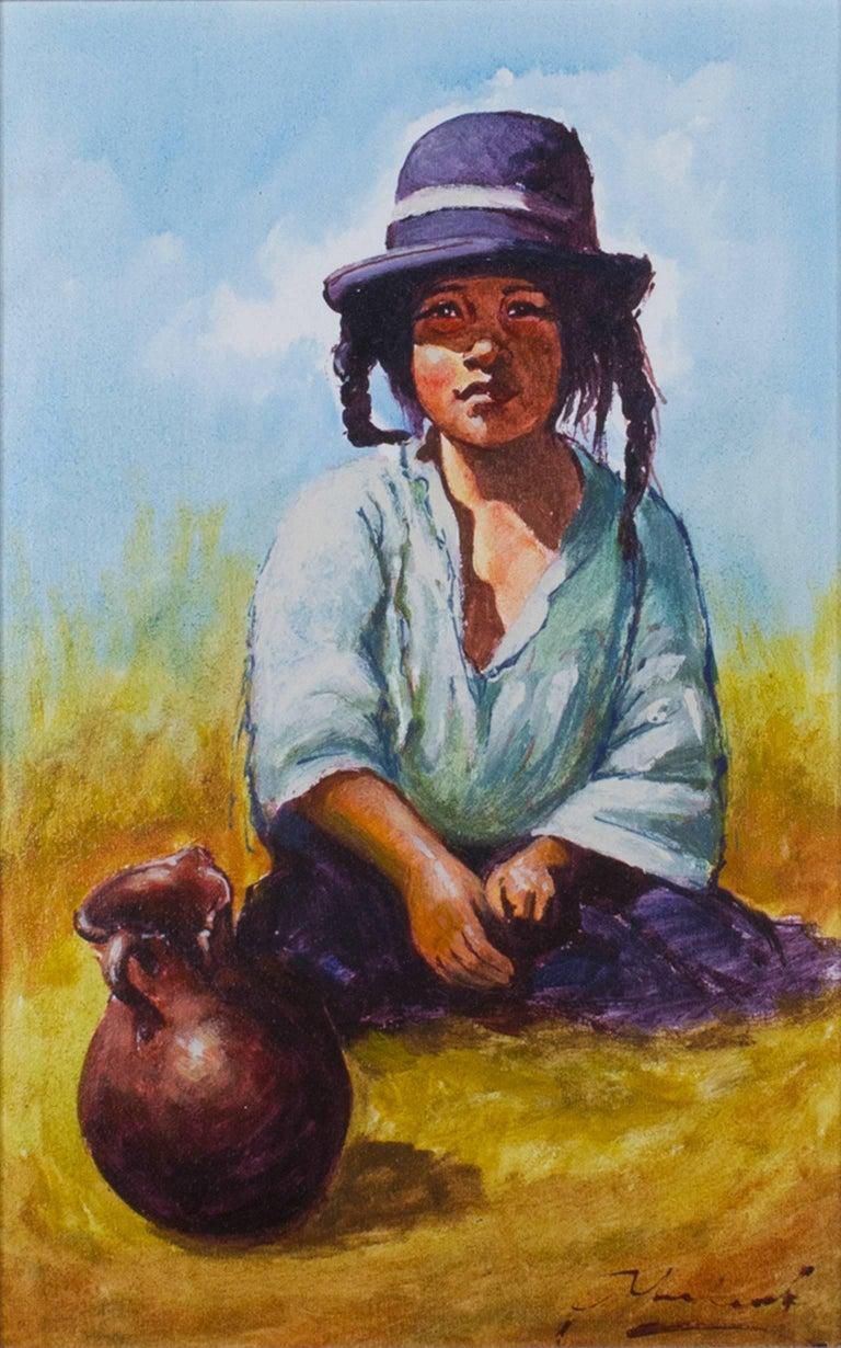 Abelardo Marquez Velazquez Portrait Painting - Nina Ponema Puno (Young Girl from Puno)