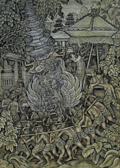 """""""Royal Cremation Ceremony Ubud Bali"""" Oil Painting on Canvas created in Indonesia"""