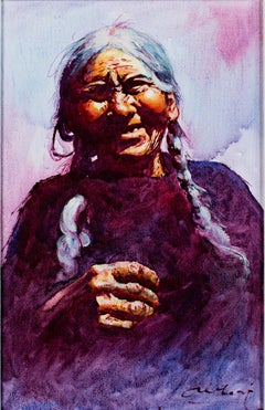 """Vieja del Sitio (Old Woman) -Cuzco,"" Oil on Canvas signed by Abelardo Velazquez"