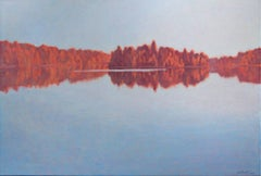 """Red Shore Line,"" Oil on Canvas Lakeside Autumn signed by Howard Schroedter"