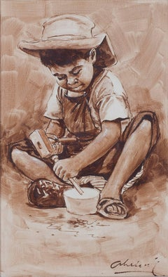 """Nino Trabajador (Child Carving Wooden Bowl) - Ayacucho,"" Oil on Canvas signed"