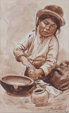 """Nina Alfarera (Child Making Pottery) - Puno,"" Oil on Canvas signed by Velazquez"