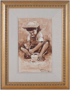 """""""Nino Trabajador (Child Carving Wooden Bowl) - Ayacucho,"""" Oil on Canvas signed"""