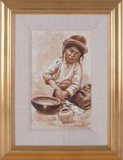 """Nina Alfarera (Child Making Pottery) - Puno,"" Oil on Canvas signed by Velazquez"