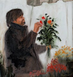 """The Unlikely Florist,"" Oil on Canvas signed by Pamela Papas"
