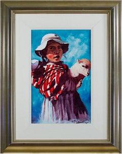 """""""Nina Pastora (Shepherd Girl) -Puno,"""" Oil on Canvas signed by Abelardo Velazquez"""