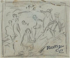 Pencil Sketch--Lake Michigan Bathers