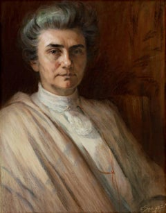 """""""Portrait of the Artist's Mother-In-Law,"""" Pastel signed by Francesco Spicuzza"""