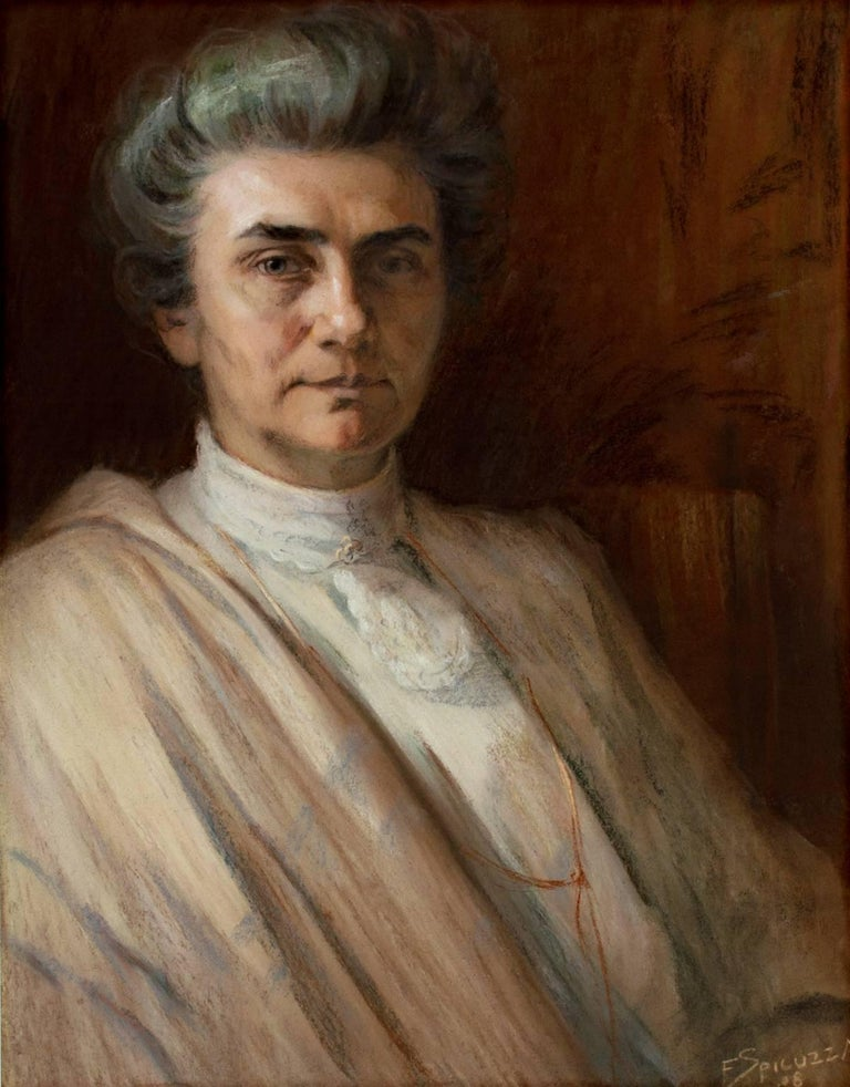 """Portrait of the Artist's Mother-in-Law"" is an original pastel drawing by Francesco Spicuzza. The artist signed the piece in the lower right. This drawing depicts an elderly woman in beige clothing in front of a warm neutral background.   26"" x 18"
