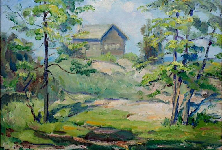 """Cabin on Lake Michigan Shore"" is an original oil painting on board by Francesco Spicuzza. The artist signed the piece in the lower left. It depicts a small cabin on the lakeshore surrounded by bright vegetation.   14"" x 20"" art 22 3/4"" x 29"""