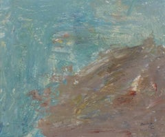 """Rocky Shore,"" Oil on Board Abstract Landscape signed by Francesco Spicuzza"