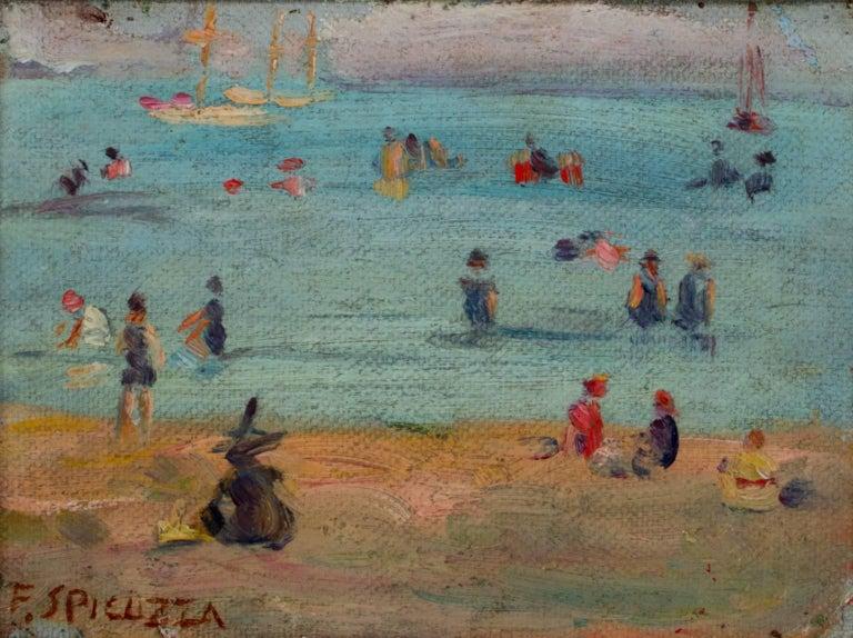 Francesco Spicuzza Figurative Painting - Lake Michigan Beach Scene