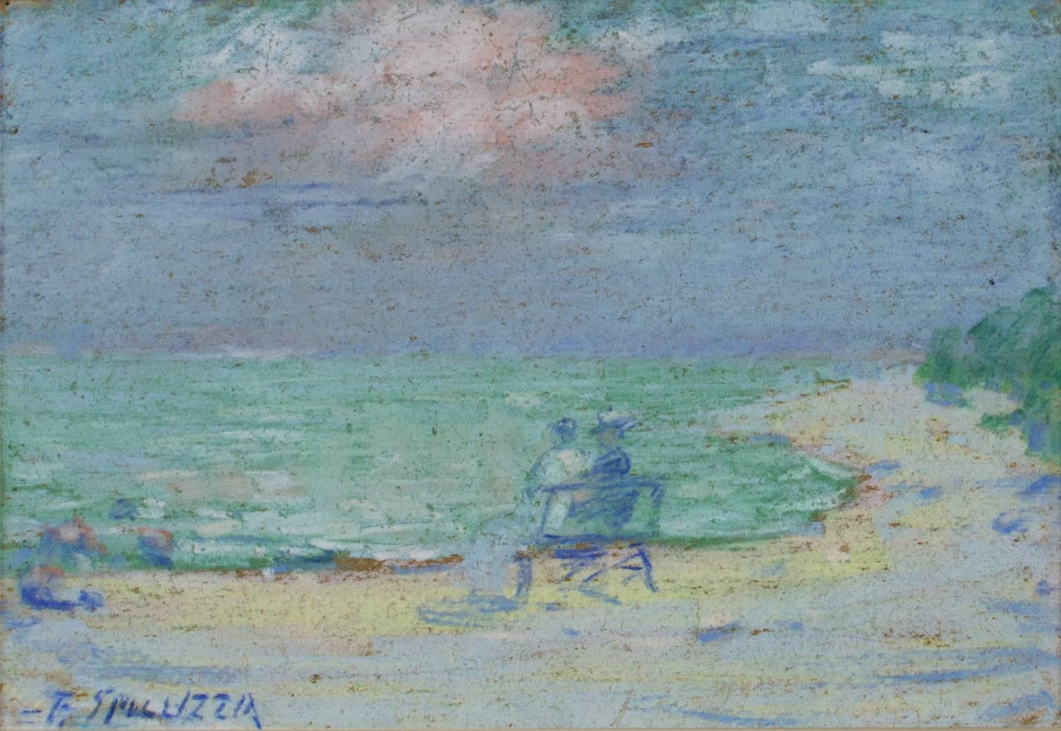 """""""Couple on Bench at the Beach"""" Pastel on Paperboard signed by Francesco Spicuzza"""