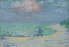 """Couple on Bench at the Beach"" Pastel on Paperboard signed by Francesco Spicuzza"