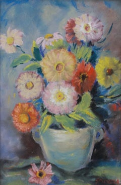 """Flowers in Vase with Handles,"" Pastel on Paperboard signed by F. Spicuzza"