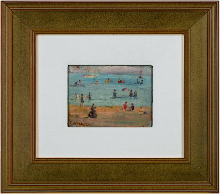 """""""Lake Michigan Beach Scene"""" is an original oil painting by Francesco Spicuzza. The artist painted this scene on canvas and then glued that canvas to a board. The artist signed the piece in the lower left. This painting depicts a number of figures"""