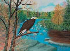 """""""On Watch"""" Original Oil Painting Landscape with Eagle signed by Raymond Suchomel"""
