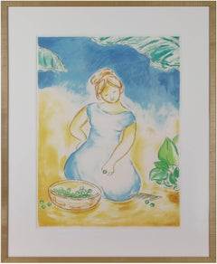 """""""Untitled (Woman With Basket of Grapes),"""" Original Color Lithograph by A Thusius"""