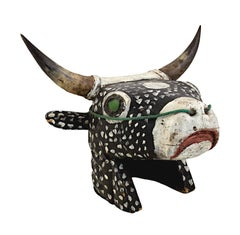 """""""Cow Head - Bidjogo Tribe Portuguese Guinea,"""" Painted Wood from Africa"""