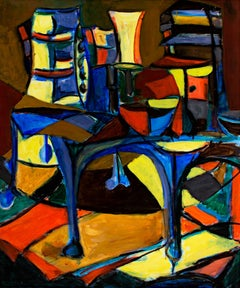 """Room Interior,"" Acrylic on Masonite Abstract Still Life signed by David Barnett"