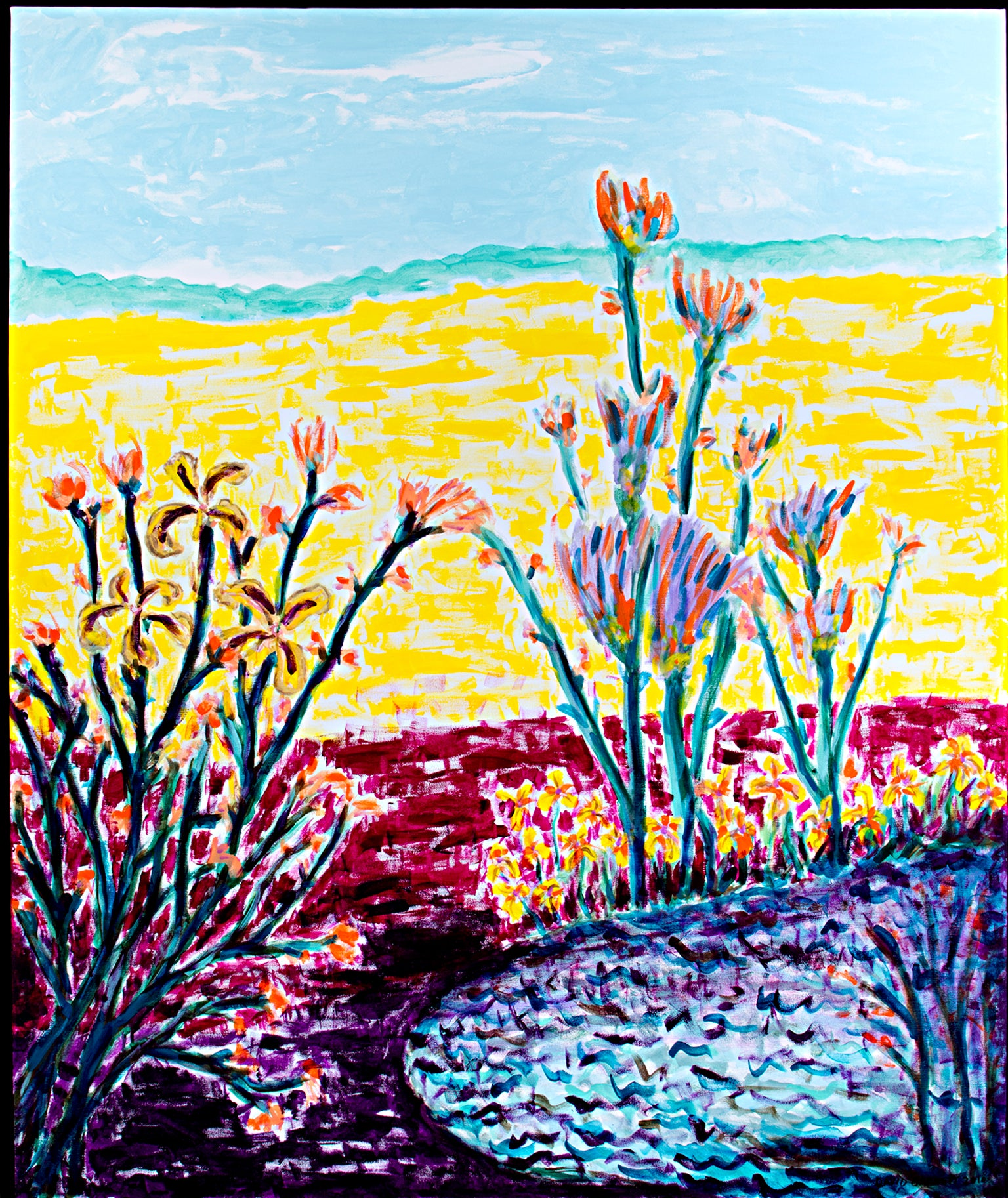 """Cranberry Bog & Golden Fields,"" Acrylic on Canvas signed by David Barnett"