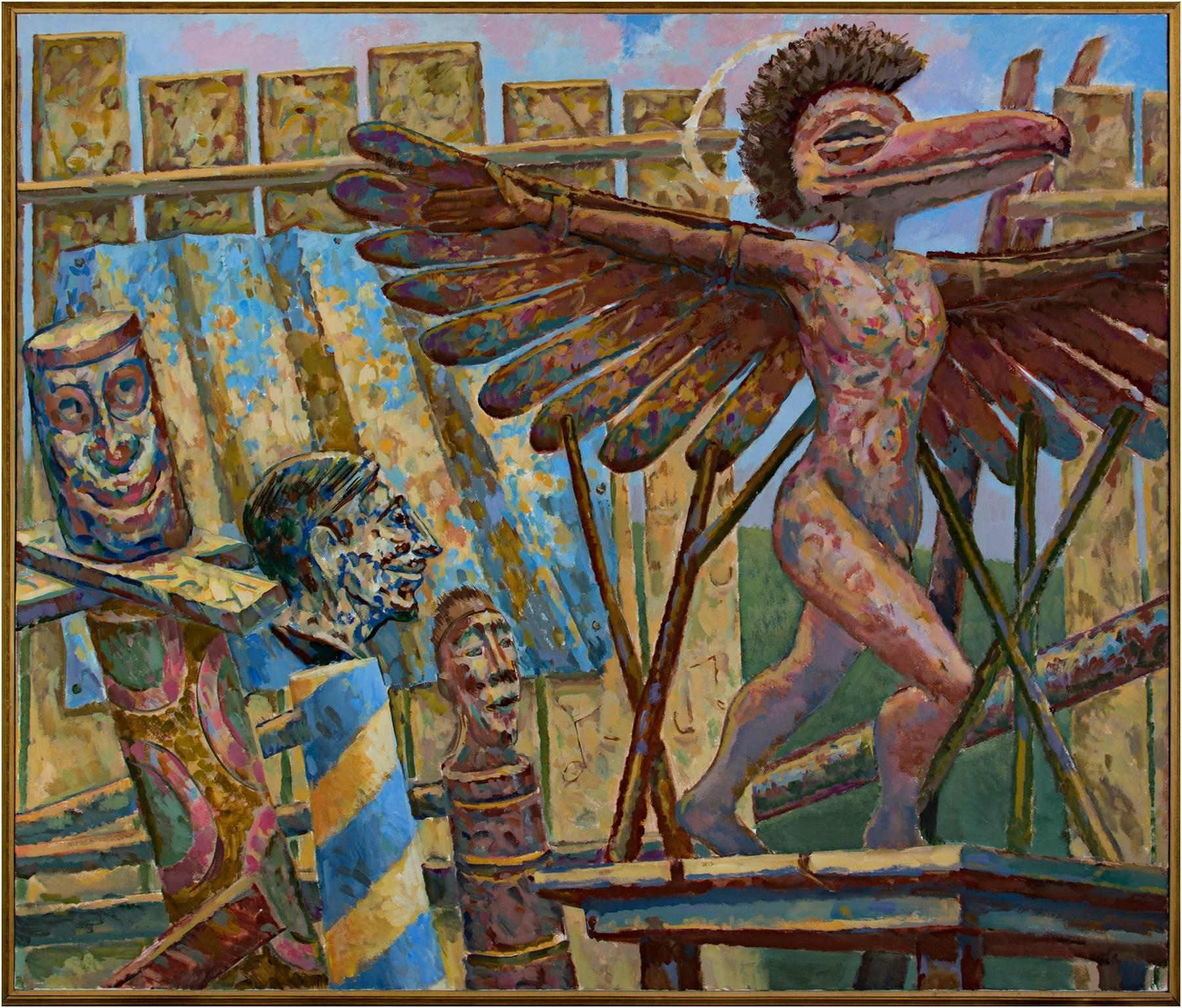 """""""St. Icaremus in the Lumber Yard,"""" Acrylic on Canvas by Randall Berndt"""