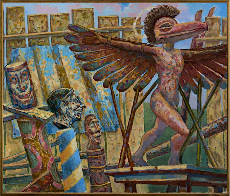 """St. Icaremus in the Lumber Yard"" is an original acrylic painting on canvas by Randall Berndt. This painting depicts a male figure with wings and a bird head in a lumber yard.  44"" x 52 1/4"" painting  Randall Berndt grew up on a farm near Markesan,"