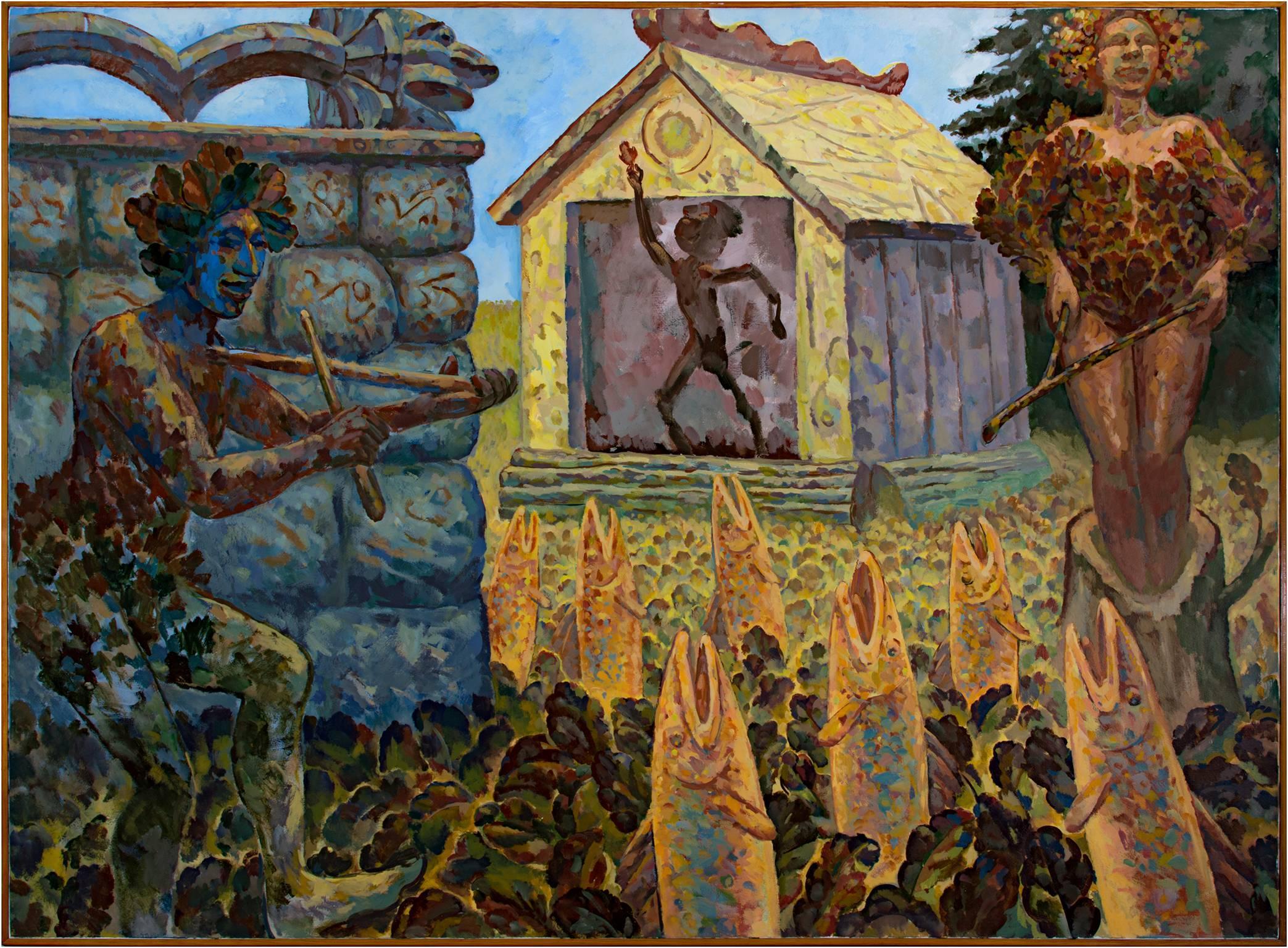 """Quercus Day at Mr. Ichthyik's House,"" Acrylic on Canvas by Randal Berndt"