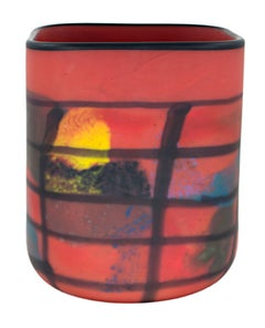 """Red Matte Square Vase,"" Hand Blown Glass signed by Ioan Nemtoi"