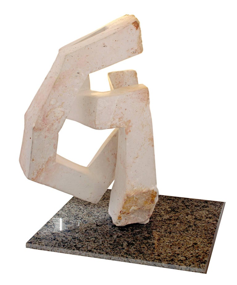 """Abstract"" is an original white opal sculpture by Obert Mukumbi. The artist signed the sculpture.   13 1/2"" x 9"" x 6""  Obert Mukumbi was born on February 11, 1974 in Mashonaland Central Province where he also attended school.  He was interested in"