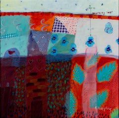 """""""Memory Four,"""" Acrylic on Paper Abstract Nature Scene signed by Karen Hoepting"""