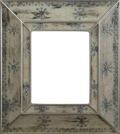 """Peruvian Folk Art Hand Painted Glass Frame--Silver Snowflake Design"" 8' x 10'"