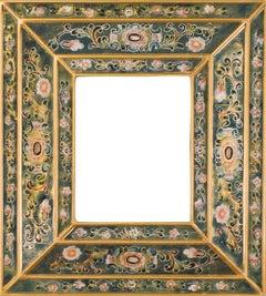 """""""Peruvian Folk Art Hand Painted Glass Frame (Dark Blue, Rose, Gold Pinstripes)"""""""