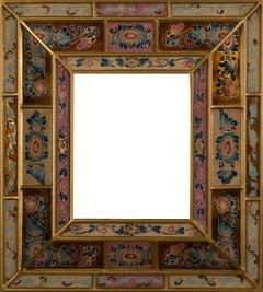 """Peruvian Folk Art Hand Painted Glass Frame (Rose, Copper,  Blue)"""