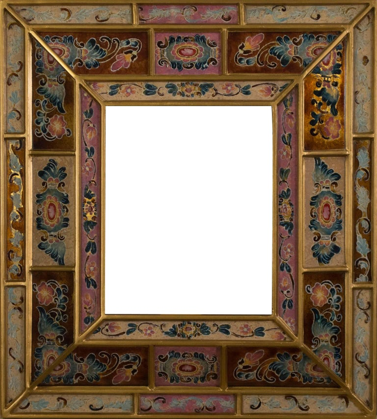 Peruvian Folk Art Hand Painted Glass Frame (Rose, Copper,  Blue)