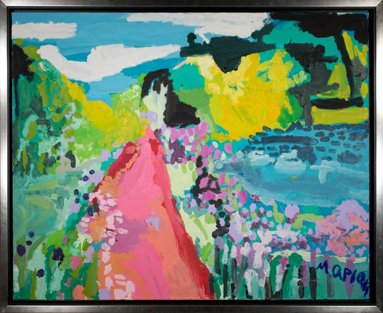 """Humeur de Printemps (Spring Mood)"" is an original acrylic painting on canvas by Maryam Alakbarli. It depicts a springtime landscape with many bright colors and expressionist brush strokes.   31 1/2"" x 39 1/2"" canvas 34 1/4"" x 42 1/8"" frame  Maryam"