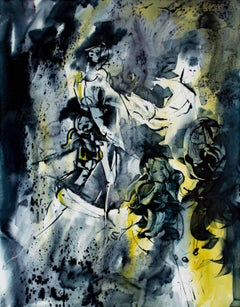 """Dancers,"" double sided watercolor painting by Pat Andre"