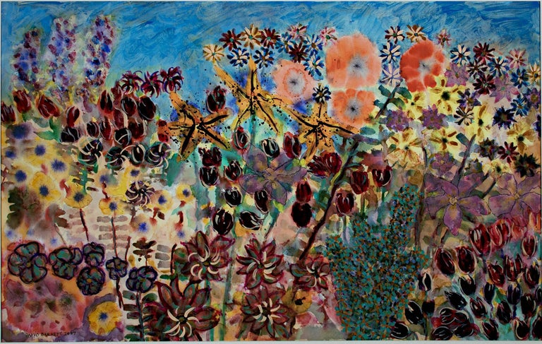 """""""Think Spring - Variation 1"""" is an original mixed media acrylic on canvas by David Barnett. The artist signed the piece in the lower right. This piece depicts a variety of flowers in front of a blue sky.   24 1/4"""" x 38 1/4"""" art 33 1/4"""" x 47"""""""