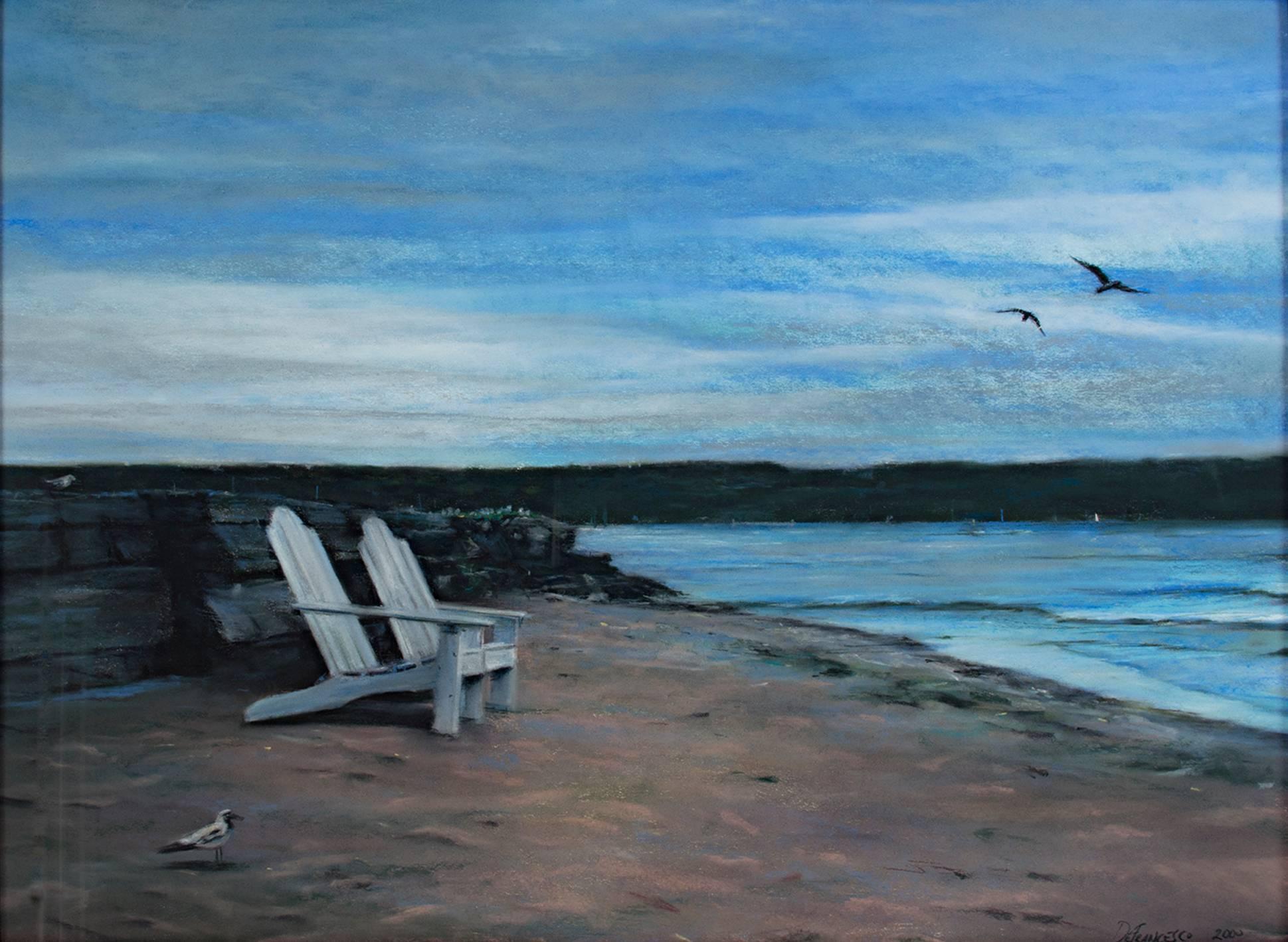 """Twilight on the Beach (Ephraim),"" Pastel Seascape signed by Michael DeFrancesco"