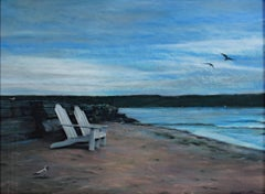 """Twilight on the Beach (Ephraim),"" Pastel Seascape signed by Michael DeFrancesco"