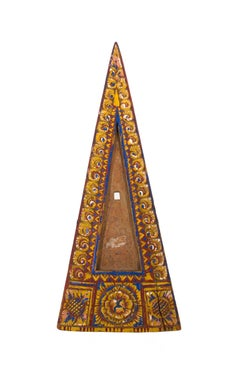 """Indonesian Triangular Wooden Tray,"" Painted with Yellow, Blue & Red"
