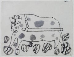 """""""Untitled,"""" Two Ink on Japon Nacre Paper pieces signed by Miguel Castro Lenero"""