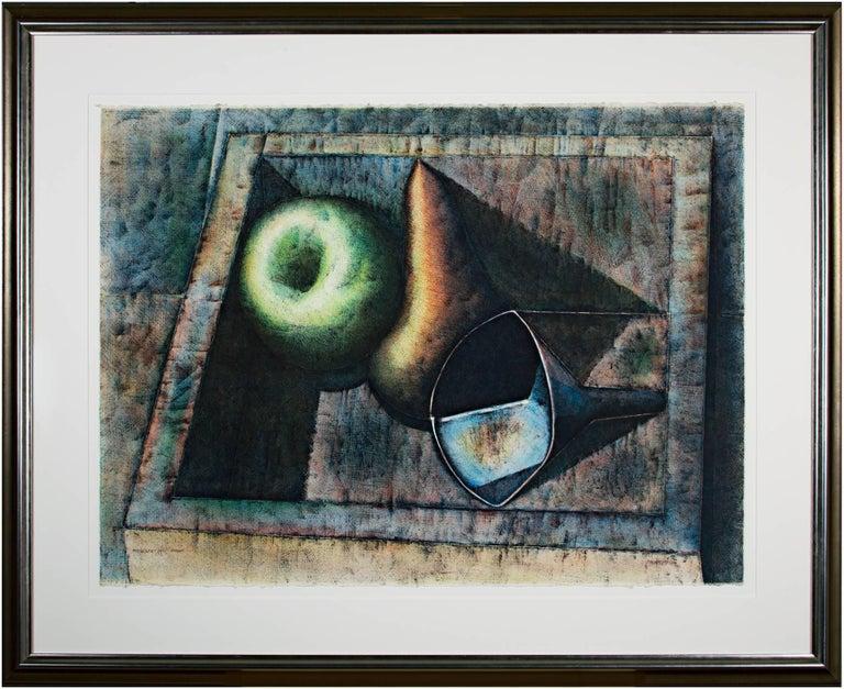 """Armando Morales Still-Life Print - """"Bodegon - Still Life: Apple, Pear, & Funnel in Box,"""" Original Color Lithograph"""