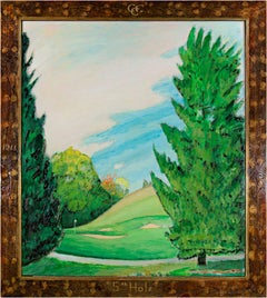 """""""Fifth Hole - Chenequa Country Club,"""" Oil on Wood signed by Robert Richter"""